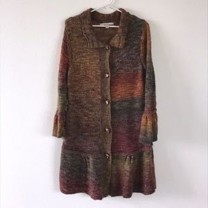 Fever long cardigan sweater size large multicolor
